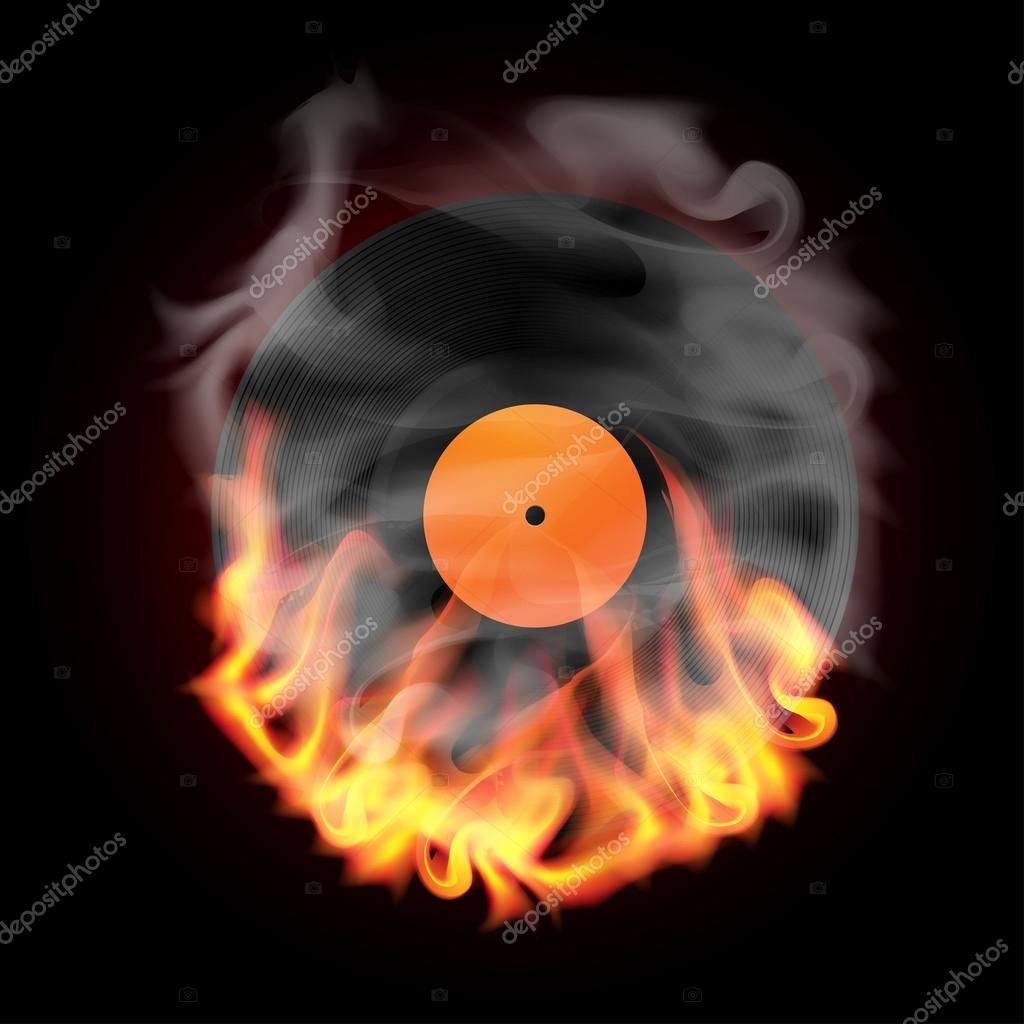 Record in Fire vector illustration — Stock Vector #12822615