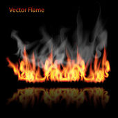 Illustration of burning fire flame on black background — Stock Vector
