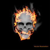 Scary skull on fire. — Stock Vector
