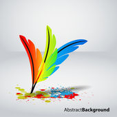 Creative art concept with color feathers. — Stock Vector