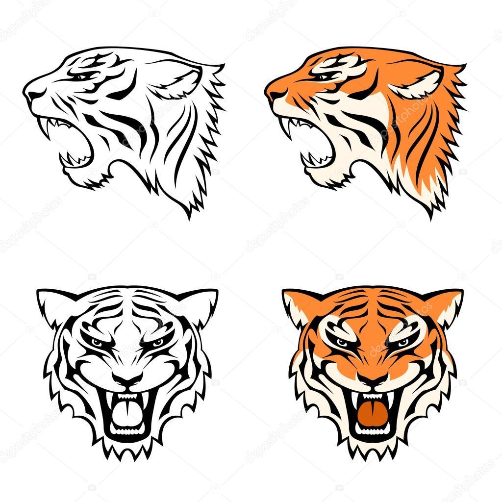 简单线条插图的老虎头适合作为纹身或团队吉祥物