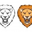 Simple illustration of lion head suitable as tattoo or team mascot — Stok Vektör