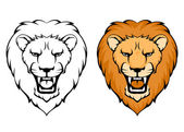 Simple illustration of lion head suitable as tattoo or team mascot — Stock Vector
