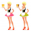 Stock Vector: Illustration of beautiful waitress girl serving beer