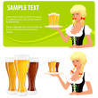 Illustration of isolated glasses of beer and a beautiful waitress girl — Stock Vector
