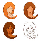 Line illustrations of beautiful women with braided hair — Stock Vector