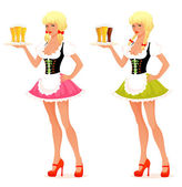 Illustration of a beautiful waitress girl serving beer — Stock Vector