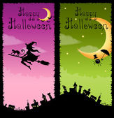 Colorful vertical banners with Halloween theme — Stock Vector