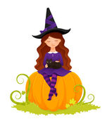 Halloween illustration of a cute witch girl sitting on a pumpkin and caressing her cat — Stock Vector