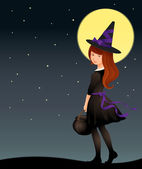 Illustration of a cute witch girl on Halloween night — Stock Vector