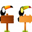 Colorful toucan birds sitting on a blank wooden sign board — Stock Vector #13507230