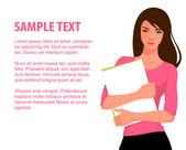 иллюстрация красивой молодой студент девушка — Cтоковый вектор