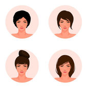 Set of illustrations of a beautiful young girl with different hair style — Stock Vector