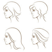 Simple line illustrations of a beautiful woman face from profile — Stock Vector