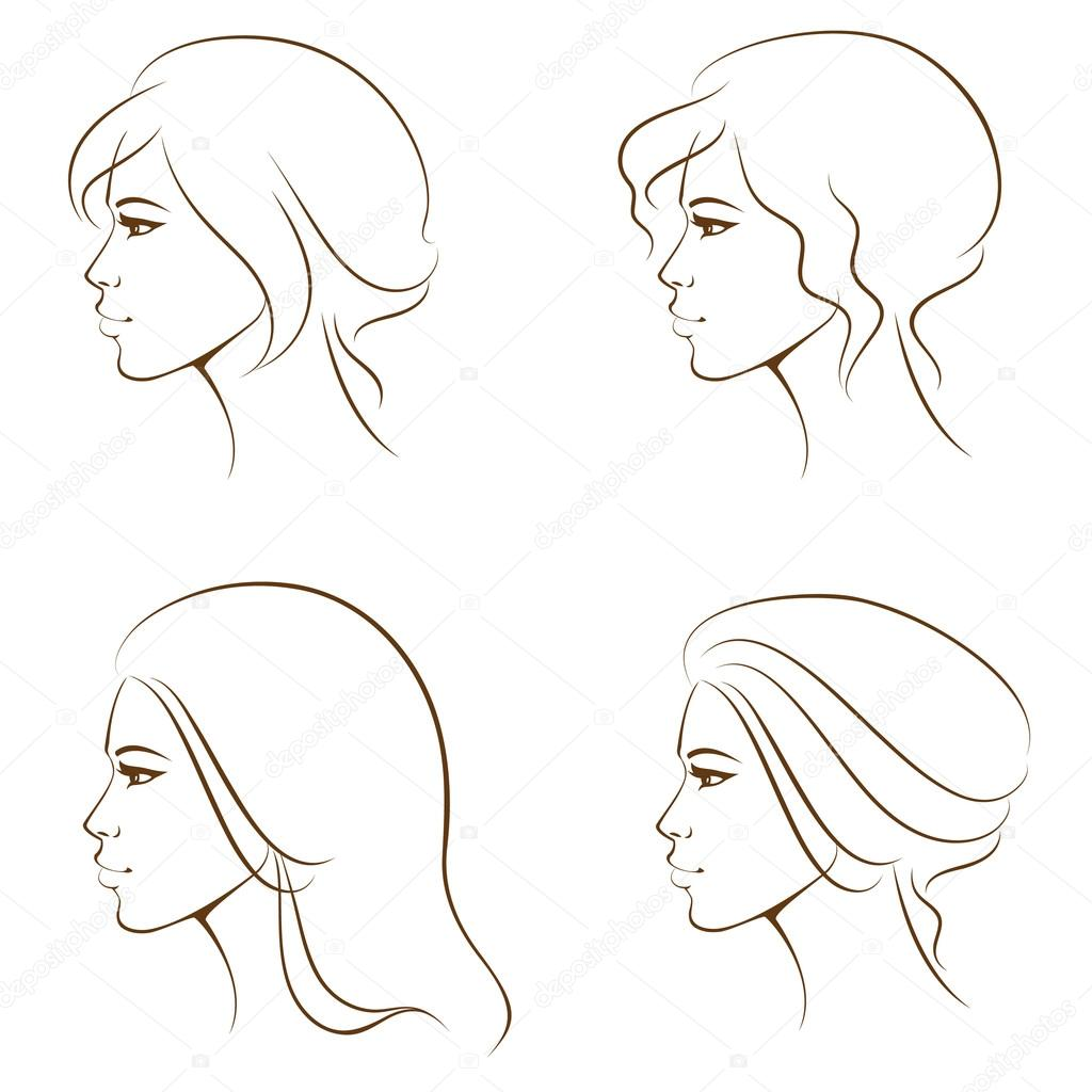 Line Drawing Face Profile : Vector graphics clip art images download