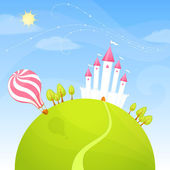 Colorful illustration of a cute fairy tale castle on a green hill — Stock Vector