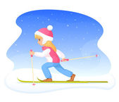 Colorful illustration of a cute small girl skiing — Stok Vektör