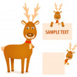 Illustration of a cute Christmas cartoon reindeer — Stock Vector