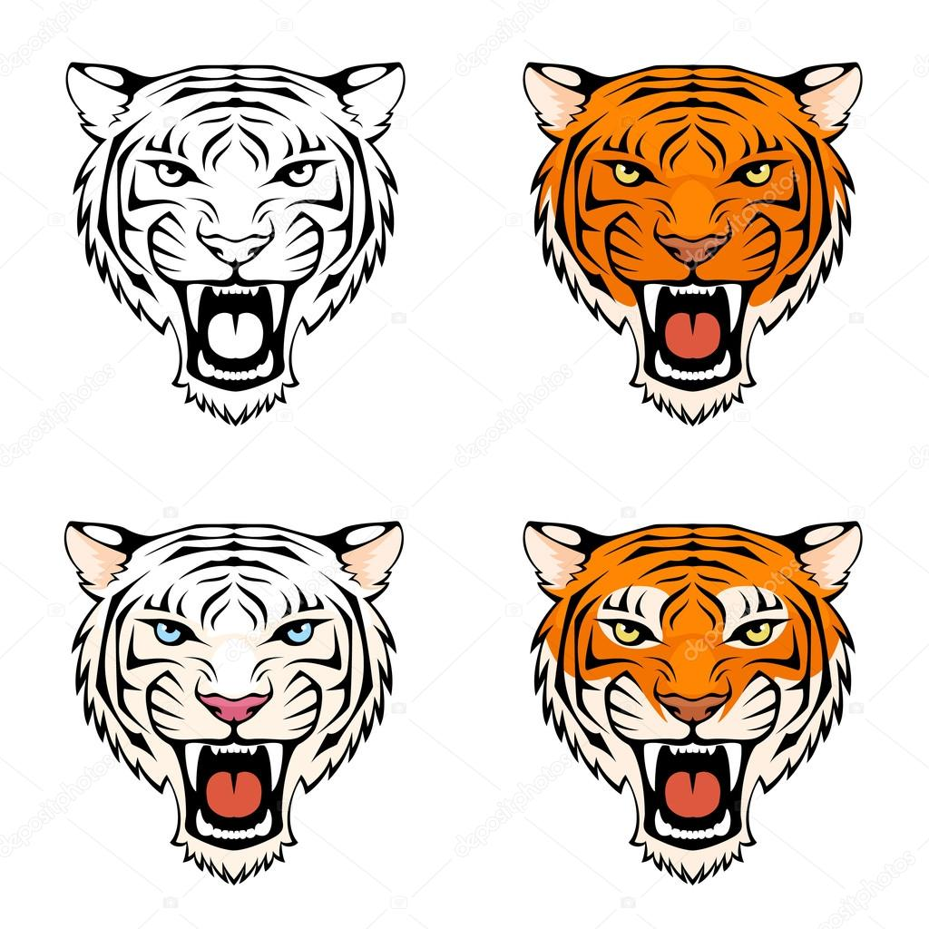 Line Drawing Tiger Face : Line illustration of a roaring tiger — stock vector