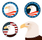 Illustration of american bald eagle with american flag background — Stock Vector