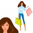 Illustration of a beautiful girl shopping — Stock Vector
