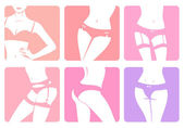 Set of icons with illustrations of woman body in lingerie — Stock Vector