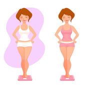 Illustration of a plump cartoon girl checking her weight — Stock Vector