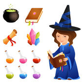 Cute magic theme illustrations and a witch girl — Stock Vector