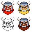 Set of simple line illustrations of an angry viking warrior — Stock Vector