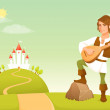 Stock Vector: Handsome bard playing lute in fairy tale kingdom