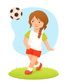 Colorful cartoon illustration of a cute small girl playing football — Vector de stock