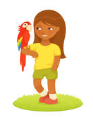Cute cartoon illustration of a small Brazilian girl with a macaw parrot — Stock Vector