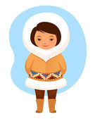 Colorful cartoon illustration of a cute small Inuit girl in traditional clothes — Stock Vector