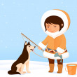 Stock Vector: Illustration of cute small Inuit girl and her dog
