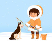 Illustration of a cute small Inuit girl and her dog — Stock Vector