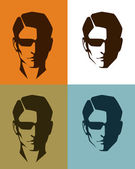 Set of simple illustrations of a handsome man face — Stock Vector