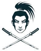 Simple line illustration of a samurai warrior and crossed katana swords — Stock Vector