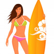Illustration of a beautiful smiling surfer girl — Stock Vector