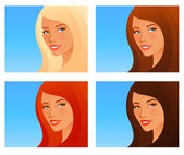 Illustration of a beautiful smiling girl with various hair color — Stock Vector