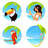 Set of colorful tropical summer illustrations with seaside background in circle shape — Stock Vector
