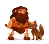 Cute cartoon illustration of an ancient caveman with his loyal wolf — Stock Vector