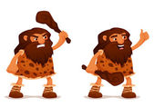 Funny cartoon illustration of a caveman with a club — Stock Vector