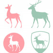 Stock Vector: Stylized illustration of doe and deer in pastel colors