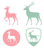 Stylized illustration of a doe and deer in pastel colors — Stock Vector
