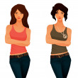 Beautiful young girls in casual clothes - tank top and jeans — Stock Vector #29941369