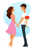 Cute cartoon illustration of a young woman and man, in love — Stock Vector