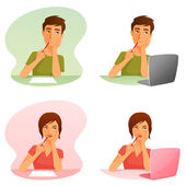 Cute cartoon illustrations of a young man and woman thinking — Stock Vector