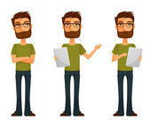Cute cartoon guy with beard and glasses, in various poses — Stock Vector