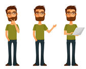 Cute cartoon character - young man with beard and glasses, in various poses — Stock Vector