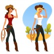 Cute cartoon cowgirl with lasso and pistol — Stock Vector